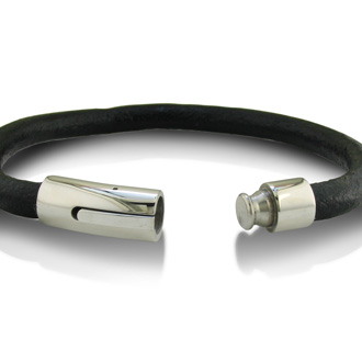 Black Leather Bracelet with Stainless Steel Lock, 8 1/2 Inches
