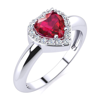 1ct Heart Shaped Created Ruby and Diamond Ring