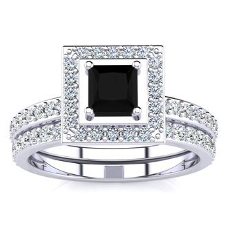 1ct Black and White Princess Cut Diamond Pave Bridal Set, SS