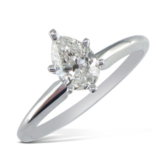 3/4 Carat Pear Shape Diamond Solitaire Ring In 14K White Gold