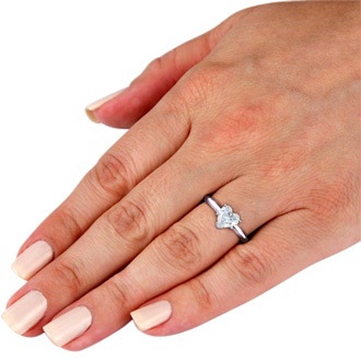 3/4 Carat Heart Shape Diamond Solitaire Ring In 14k White Gold