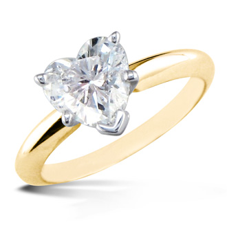 1 Carat Heart Shape Diamond Solitaire Ring In 14K Yellow Gold