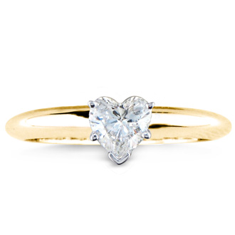 1/2 Carat Heart Shape Diamond Solitaire Ring In 14k Yellow Gold
