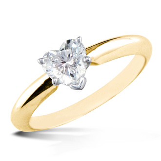 1/2ct Heart Shaped Diamond Solitaire Ring, 14k Yellow Gold