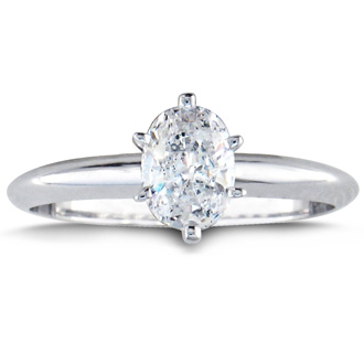 3/4ct Oval Shaped Diamond Solitaire Ring, 14k White Gold