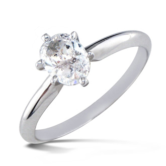 3/4 Carat Oval Shape Diamond Solitaire Ring In 14k White Gold