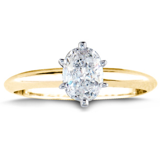 3/4ct Oval Shaped Diamond Solitaire Ring, 14k Yellow Gold
