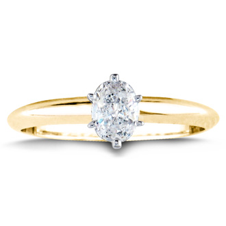 1/2ct Oval Shaped Diamond Solitaire Ring, 14k Yellow Gold