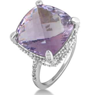 11ct Amethyst and Diamond Ring, Sterling Silver