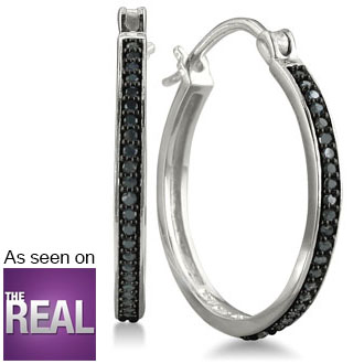 1/4ct Black Diamond Hoop Earrings In Sterling Silver.  Very Popular Full Hoop!