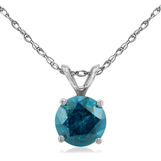 3/4ct Blue Diamond Pendant in 14k White Gold