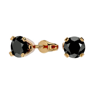 1ct Black Diamond Stud Earrings, 14k Yellow Gold
