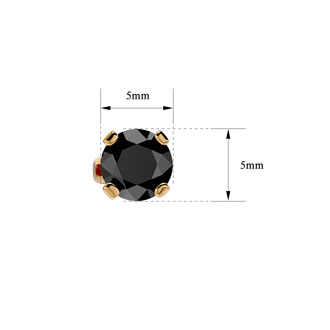 1ct Black Diamond Stud Earrings, 14k Yellow Gold
