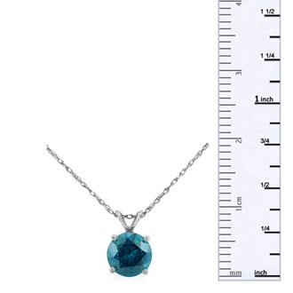 1ct Blue Diamond Solitaire Pendant, 14k White Gold