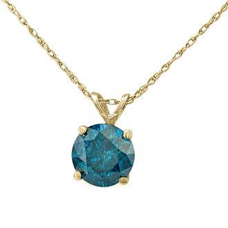 1ct Blue Diamond Solitaire Pendant, 14k Yellow Gold