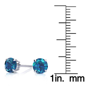 1 1/2ct Blue Diamond Stud Earrings, 14k White Gold