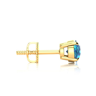 1 1/2ct Blue Diamond Stud Earrings, 14k Yellow Gold