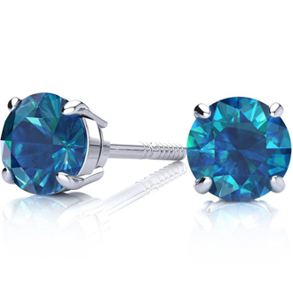 2ct Blue Diamond Stud Earrings, 14k White Gold