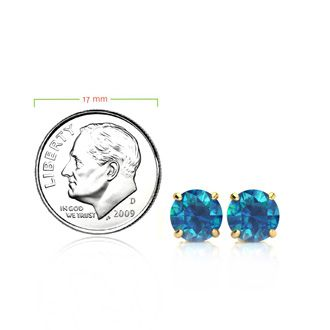 2ct Blue Diamond Stud Earrings, 14k Yellow Gold