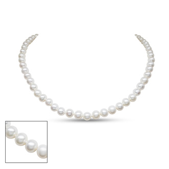 18 Inch 6mm AA Hand Knotted Pearl Necklace, 14k White Gold Clasp