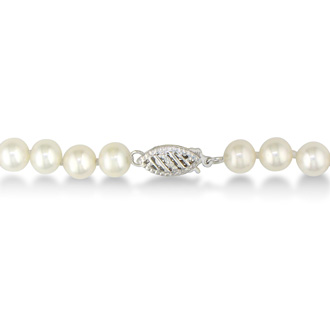 6mm AA Hand Knotted Pearl Necklace, 14k White Gold Clasp, 16 Inches