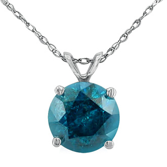 1 1/2ct Blue Diamond Solitaire Pendant, 14k White Gold