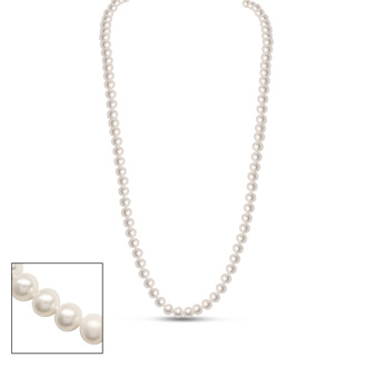 30 Inch 6mm AA Hand Knotted Pearl Necklace, 14k Yellow Gold Clasp