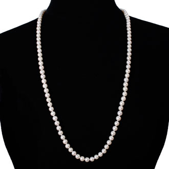 30 inch 7mm AAA Pearl Necklace with 14k Yellow Gold Clasp