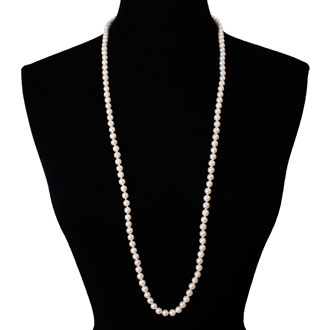 36 inch 7mm AAA Pearl Necklace with 14k Yellow Gold Clasp