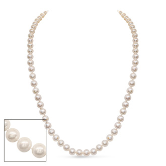 24 inch 8mm AA Pearl Necklace with 14k Yellow Gold Clasp
