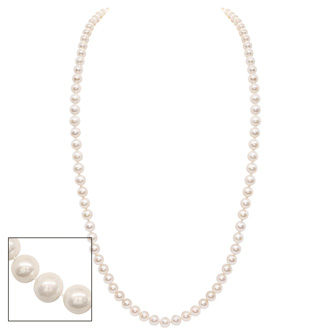 36 Inch 8mm AA Hand Knotted Pearl Necklace, 14k Yellow Gold Clasp