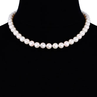 18 inch 10mm AAA Pearl Necklace with 14k Yellow Gold Clasp
