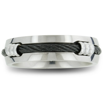 7mm Mens Titanium Wedding Band Ring with Carbon Fiber Rope, Sizes 8 to 12.5