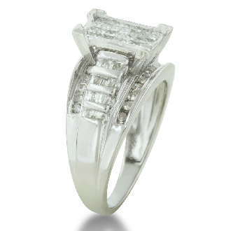 1ct Huge Look Diamond Engagement Ring in Sterling Silver