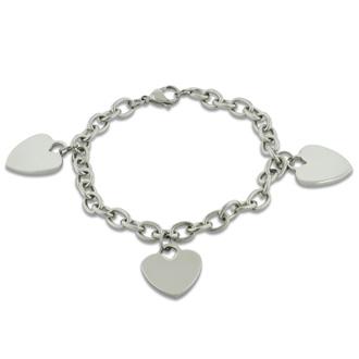 Ladies' Dangling Triple Heart Charm Bracelet In Stainless Steel