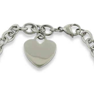 Ladies Dangling Single Heart Charm Bracelet in Stainless Steel With Free Custom Engraving
