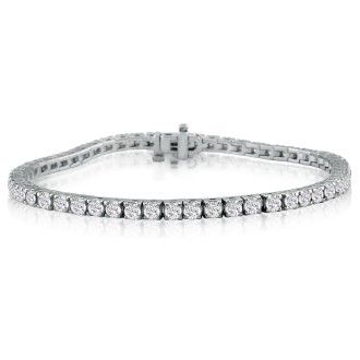 5 Carat Diamond Tennis Bracelet In 14 Karat White Gold, 7 Inches. Fantastic Classic Beautiful Diamond Bracelet!