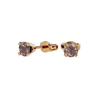 1/4ct Chocolate Bar Brown Champagne Diamond Stud Earrings in Yellow Gold