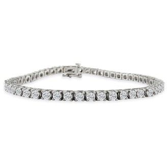 6ct Fine Diamond Tennis Bracelet, 14k White Gold