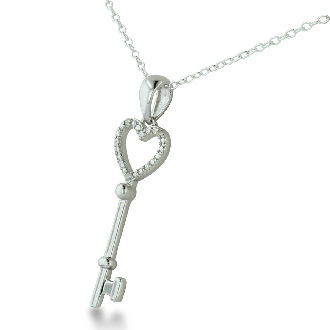 The Key To My Heart With 3 Diamonds In Solid Sterling Silver