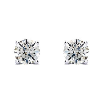 1ct Diamond Stud Earrings, White Gold, H/I Color, SI1-SI2 Clarity