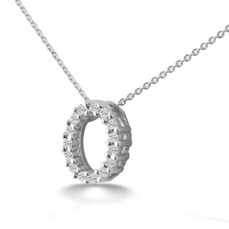 .08ct Oval  Diamond Pendant in 10k White Gold, 2 star Diamonds
