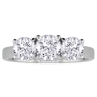 1/4ct Three Diamond Ring in 14k White Gold