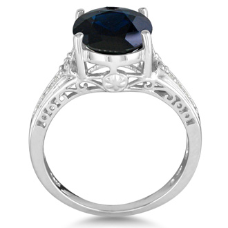 4ct Sapphire and Diamond Ring in 10k White Gold