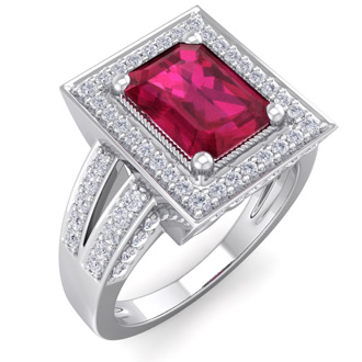 2 3/4 Carat Emerald Cut Ruby and Halo Diamond Ring In 14 Karat White Gold