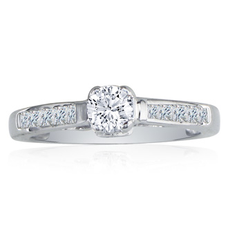 Elegant 1ct Round Cut Diamond Engagement Ring in 14k White Gold