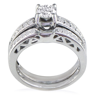 Very Fine 3/4ct Round Diamond Bridal Set, 14K White Gold, Sizes 7 and 8