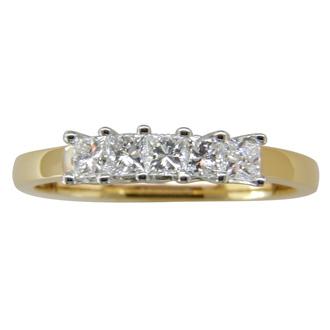 1/2ct Princess Five Diamond Ring in 14k Two Tone Gold