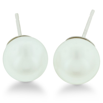 8mm Cultured Pearl Stud Earrings in 14 Karat White Gold