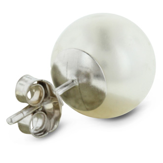 7mm Cultured Pearl Stud Earrings in 14 Karat White Gold